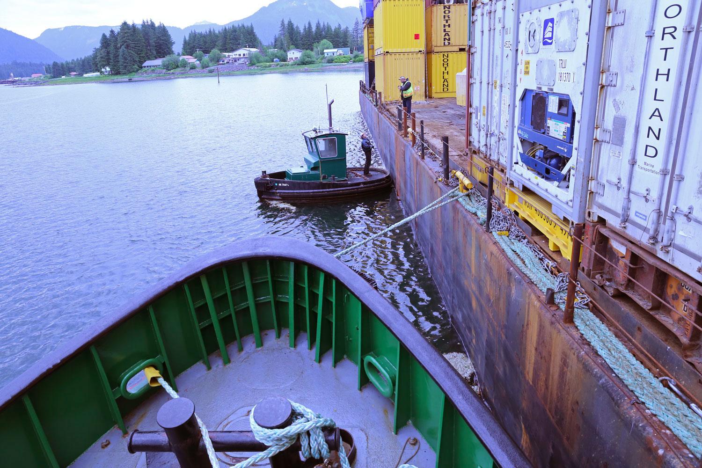 Tug barge boom boat Southeast Alaska