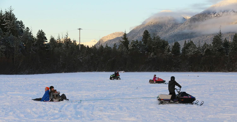 Kids enjoying the snow.