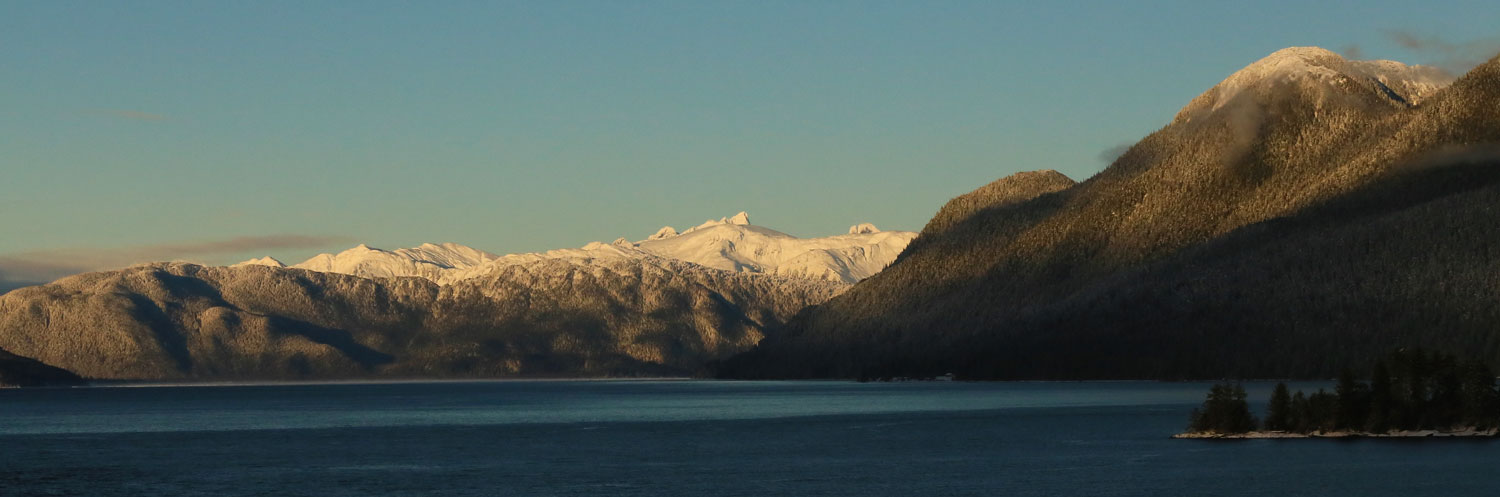 Mountains late afternoon winter Southeast Alaska Wrangell
