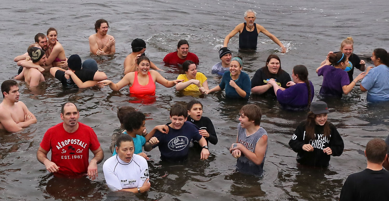 Polar Bear Club swim New Years Day Wrangell Alaska