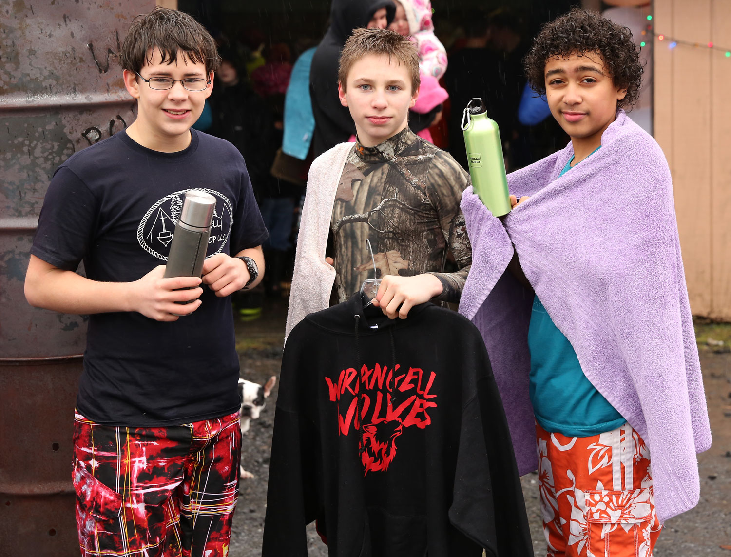 Winners of a thermos, a Wrangell Wolves sweatshirt, and a water bottle.