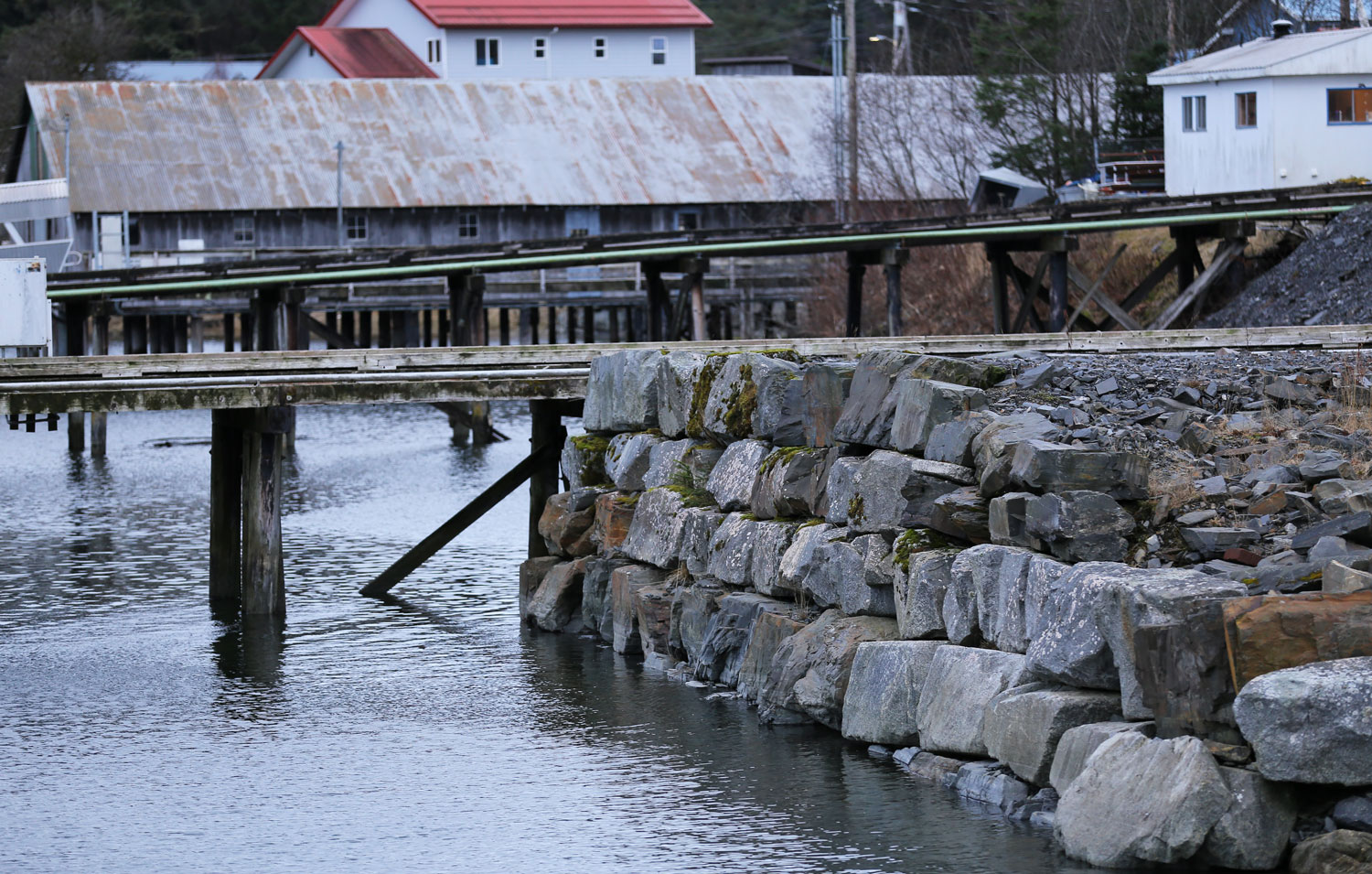 Stone sea wall in Wrangell Harbor.