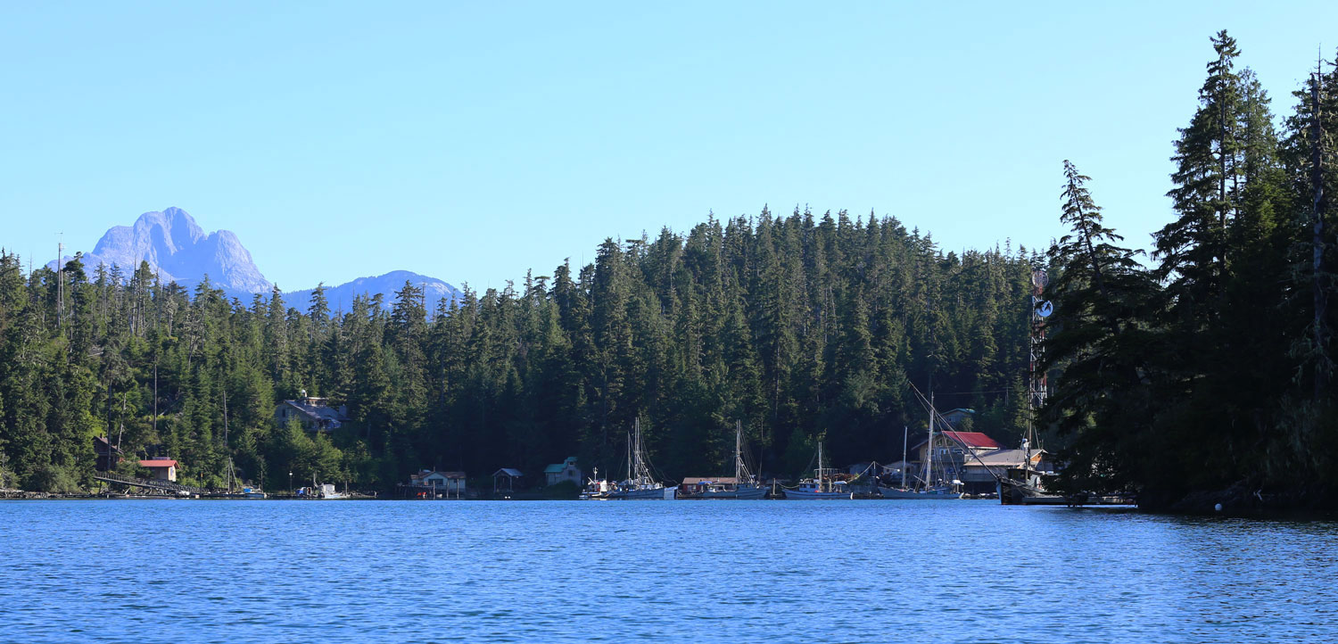 Port Protection, Alaska is in Wooden Wheel Cove on northwest Prince of Wales Island. The bald, limestone bulk of Calder Mountain is in the background.