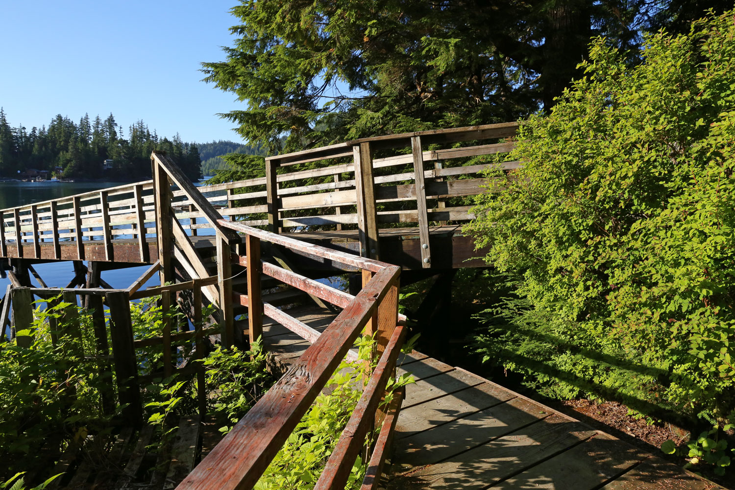 State dock left, boardwalk to school right.