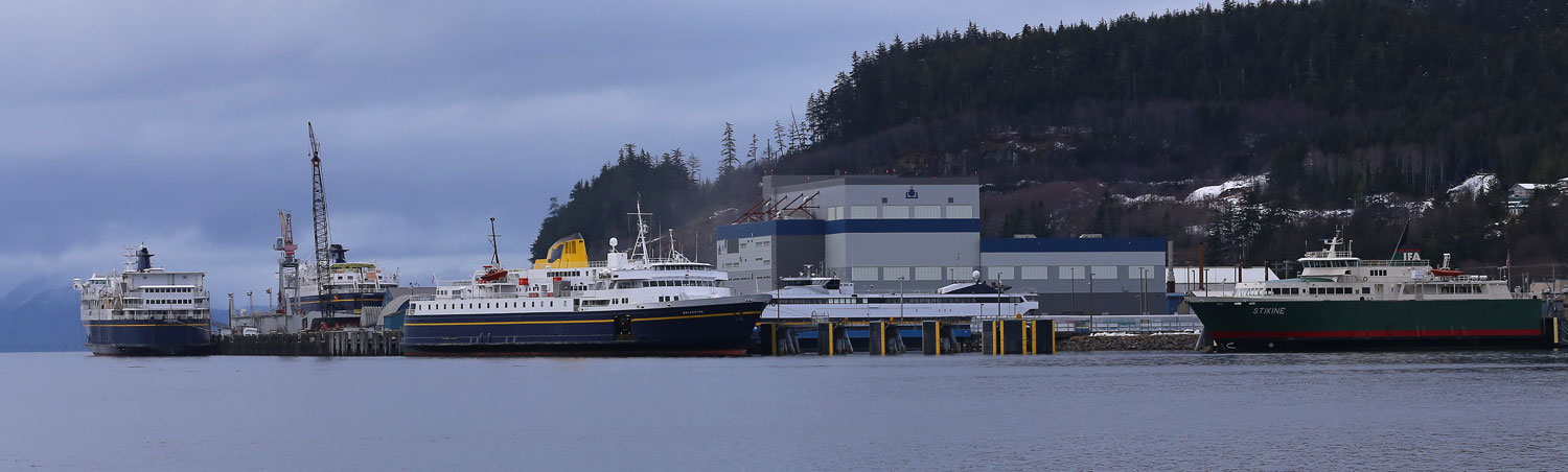 Ketchikan ferry terminals. The Alaska Marine Highway ferry Malaspina is in the center, and the IFA ferry Stikine is to the right.