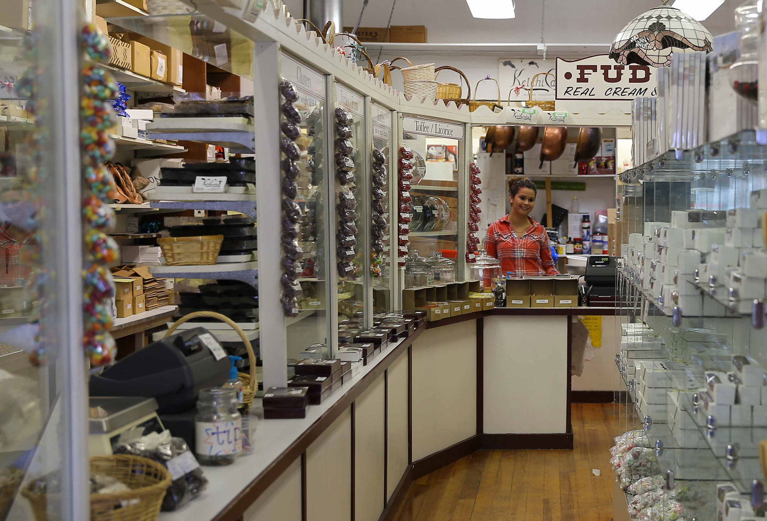 Beautiful Jessica at Ketchicandies, ready to fill a box of the best chocolates I have ever tasted, and they are made right here in Ketchikan!