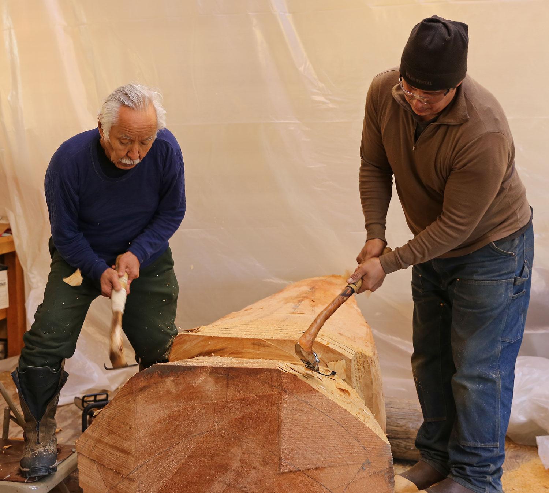 Nathan Jackson John Hughes Carving Totem Alaska