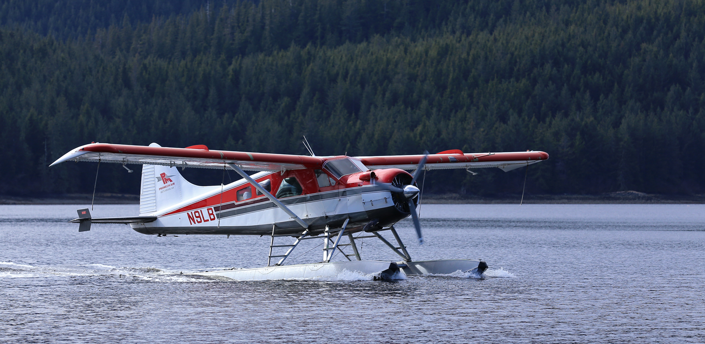 Promech Air's de Havilland Beaver taxiing to the dock in Thorne Bay, Alaska.
