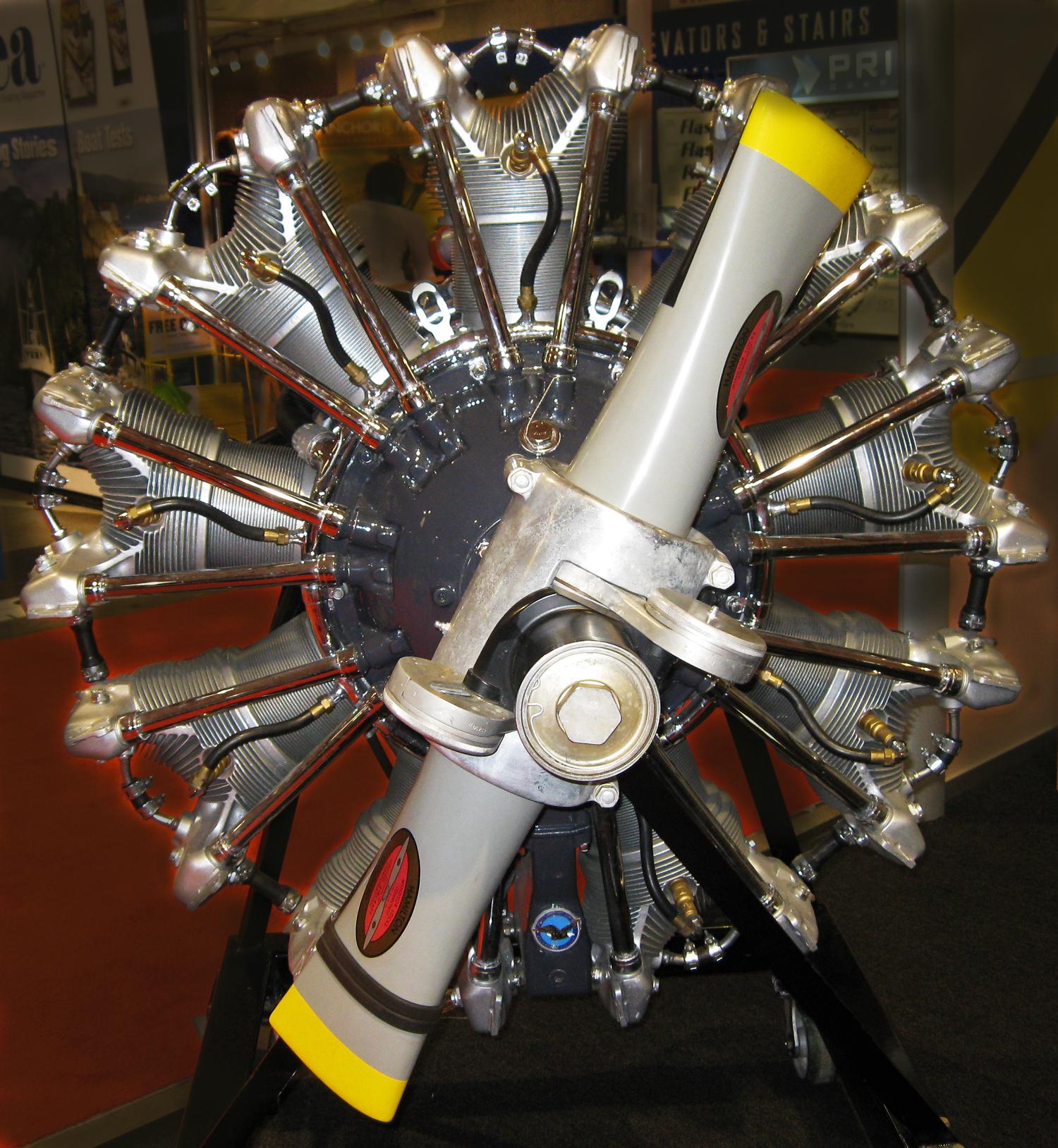 Nine cylinder radial engine.
