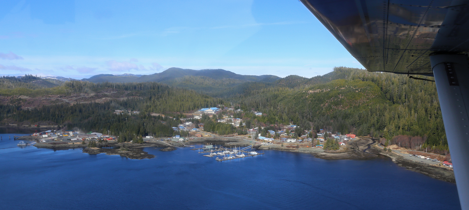 Thorne Bay, Alaska from the air. Hey, isn't that our boat in the harbor?