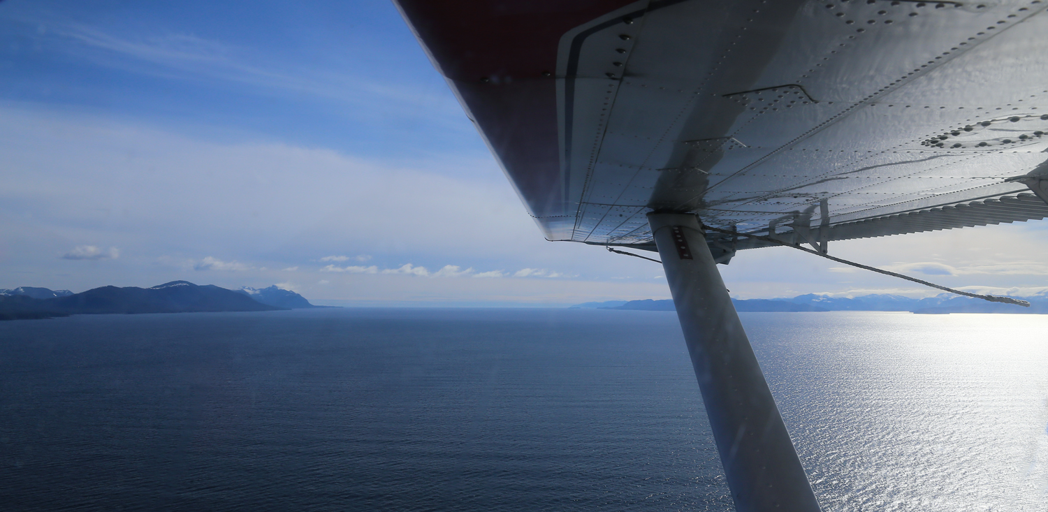Crossing Clarence Strait, looking south to the Pacific Ocean.