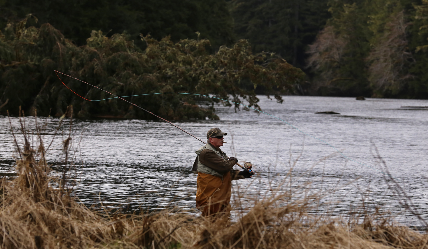 A fly fisherman in the Thorne River on Prince of Wales Island.