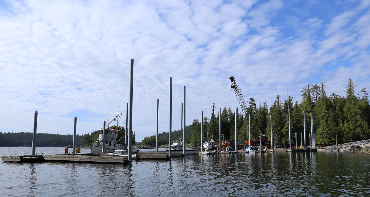 """The new dock in Naukati is pinned in place with 16"""" and 18"""" galvanized steel pilings set in solid rock."""