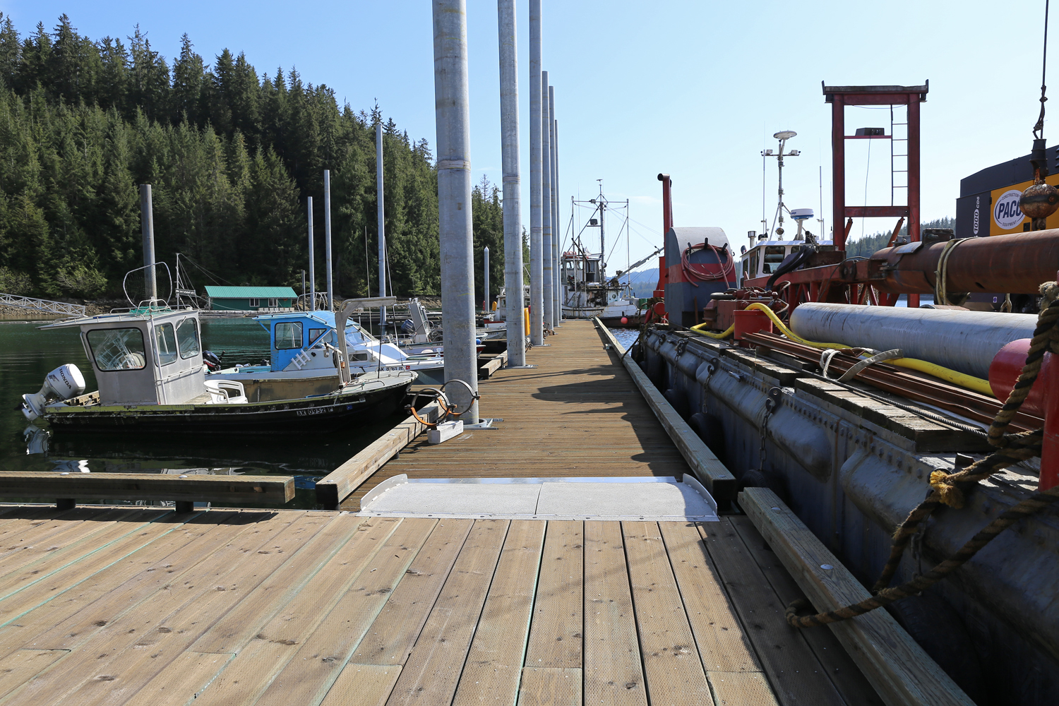 Naukati Bay's new dock is wide, safe, and sturdy, with stout bullrails to tie to.