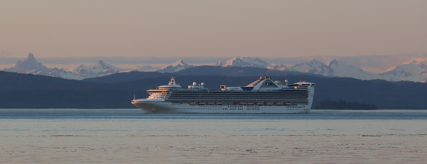 While I was enjoying the sunset at Memorial Beach, a cruise ship was just to the north in Sumner Strait. The passengers must have been enjoying the beautiful evening, too.