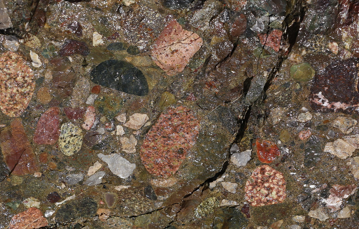There are various colors of metaconglomerate stone on POW.