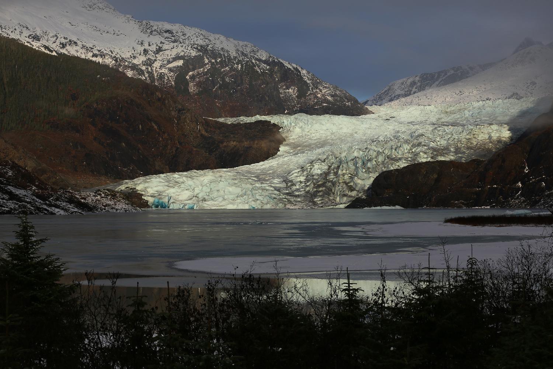 Juneau Alaska Mendenhall Glacier ice Mendenhall Lake mountains beautiful sunshine fog stunning