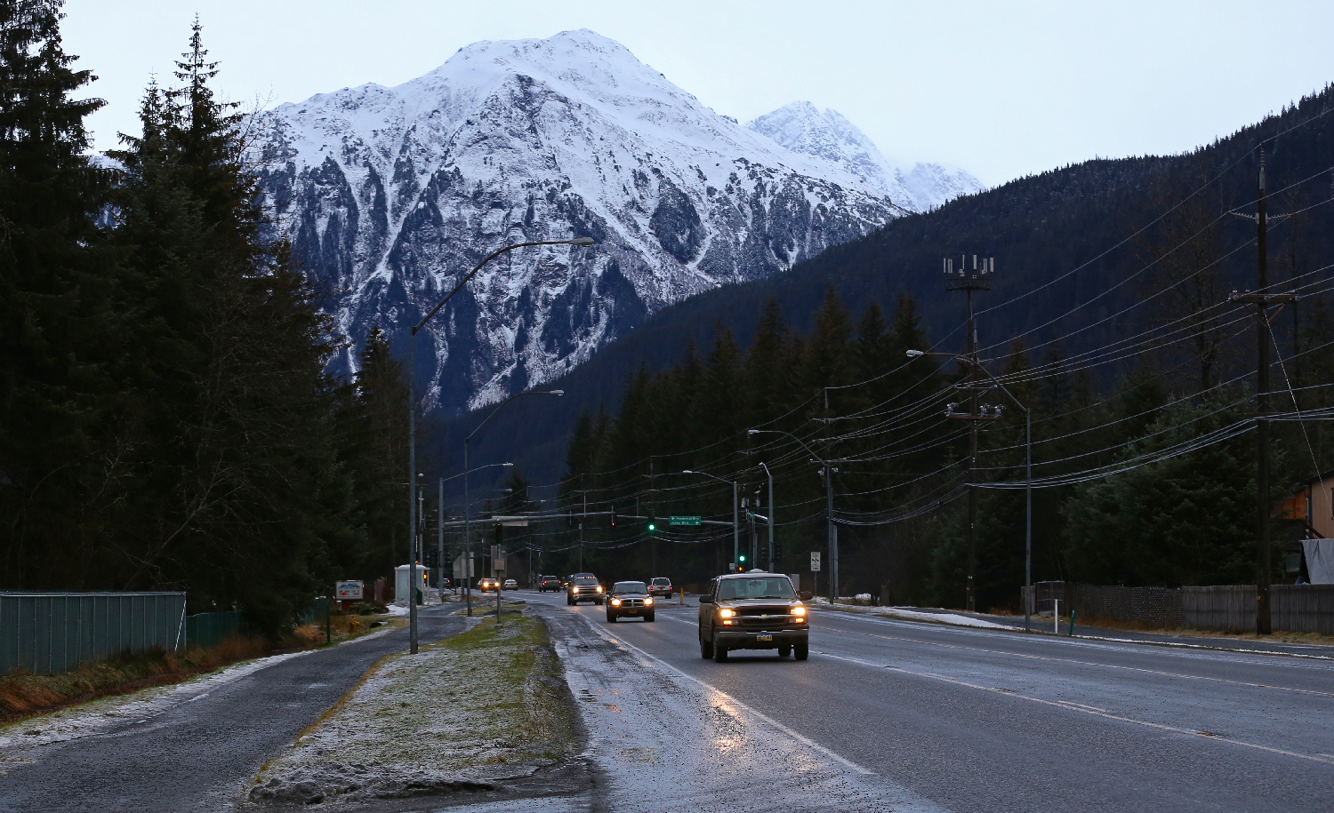 Loop Road in the Mendenhall Valley runs through residential areas. Mount Bullard in the background juts up to 4225 feet above sea level.