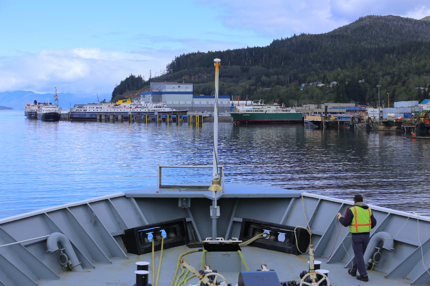 "Coming into Ketchikan on the Alaska Marine Highways ferry ""Taku"". The green ferry ""Stikine"" in the photo goes to Hollis on Prince of Wales Island."