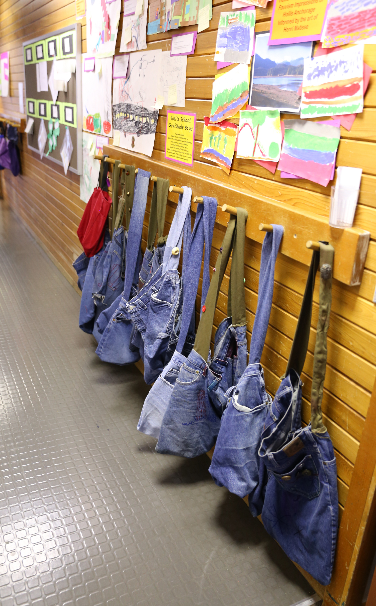 The students grab up their Gratitude Bags to collect litter in when they are outside for field work and field trips.