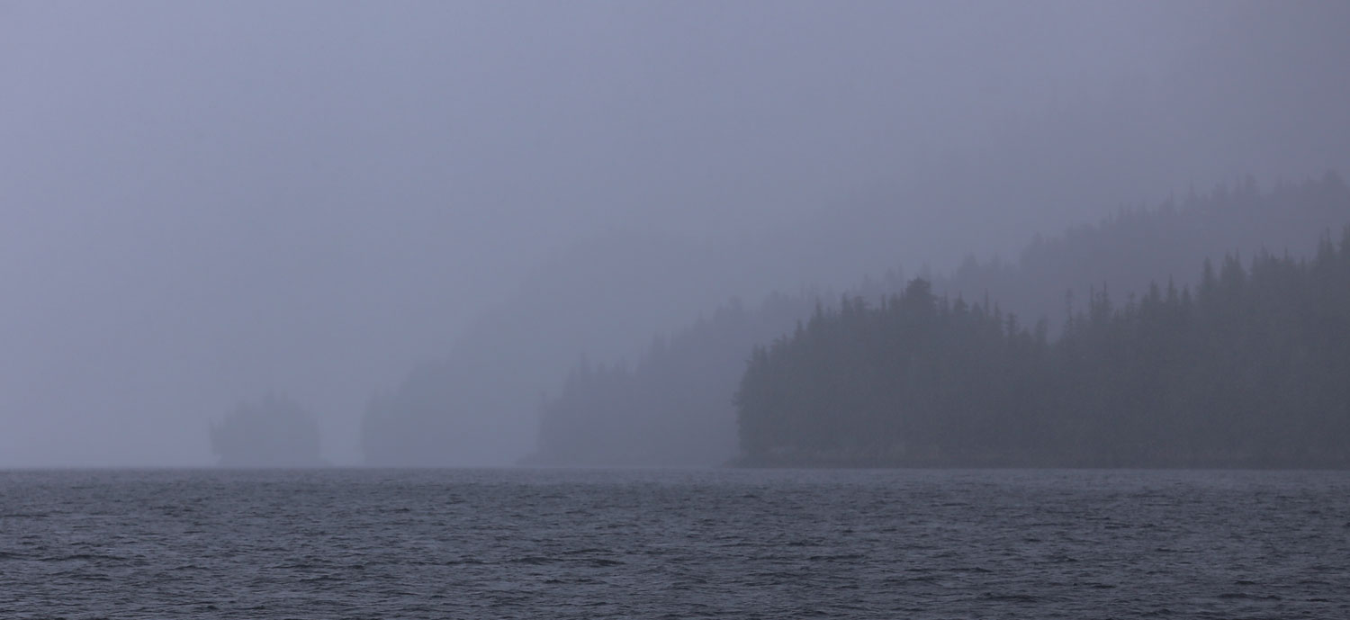 Foggy low visibility on the ocean Southeast Alaska islands