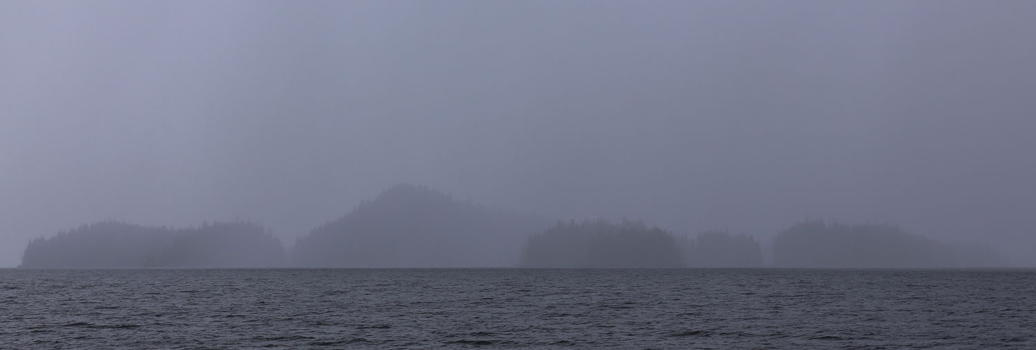 Misty foggy day on the ocean in Southeast Alaska islands