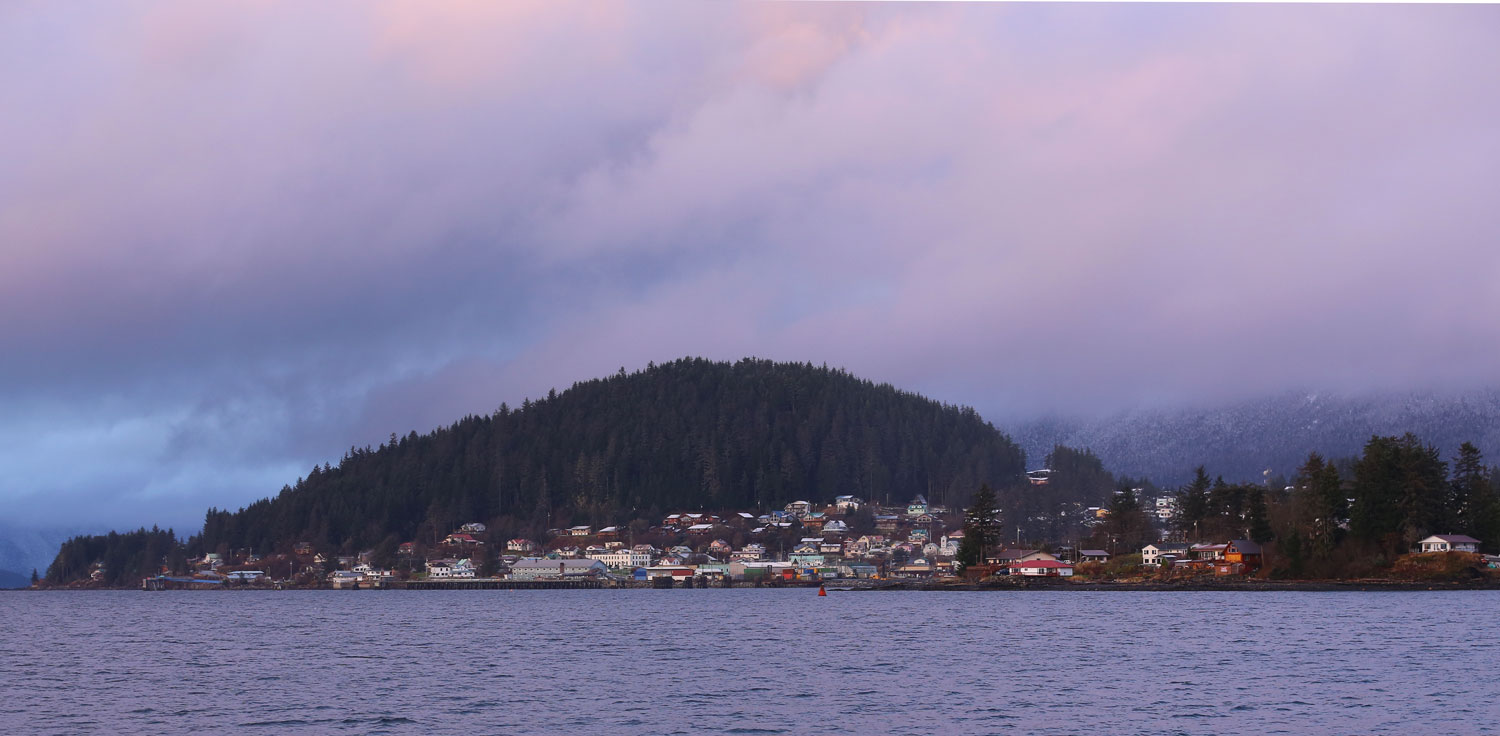 Wrangell Alaska town from the water in the evening