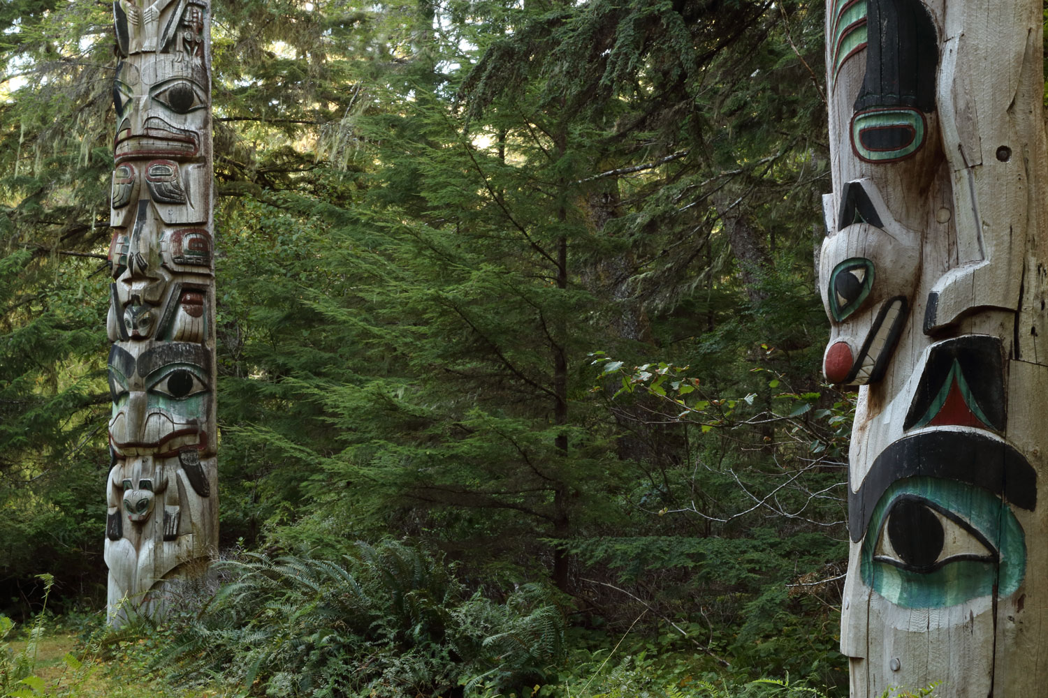 Totem poles at the Kasaan Totem Park next to the Whale House.