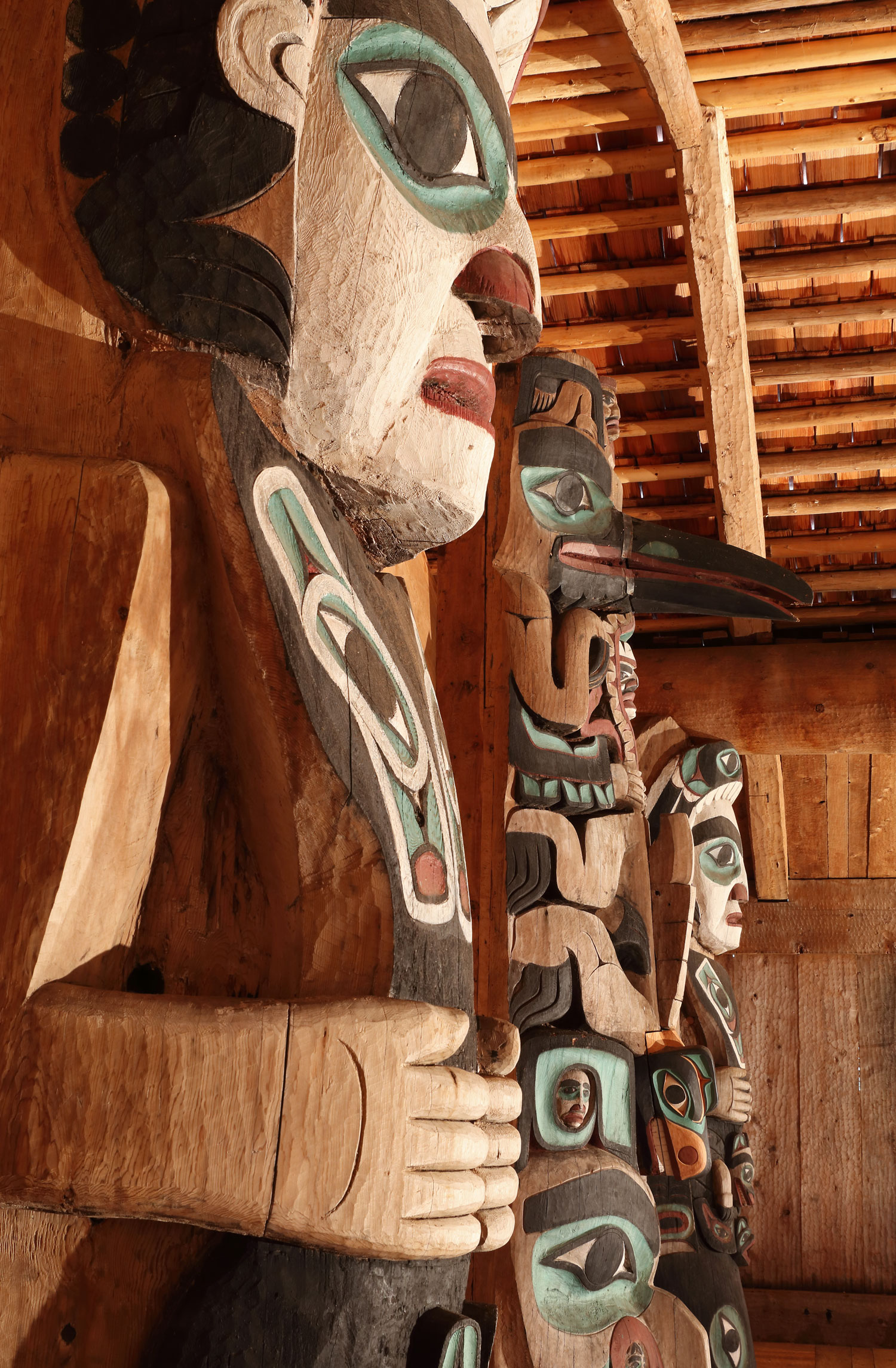 These totem poles are over a century old.