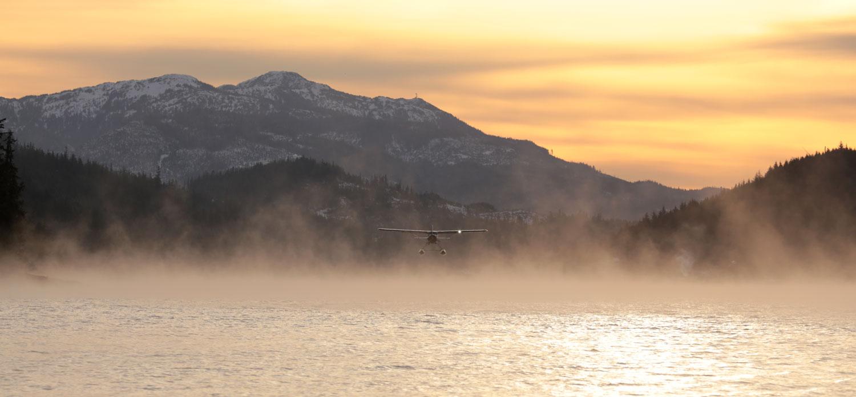 de Havilland Beaver floatplane landing in the mist Thorne Bay Southeast Alaska