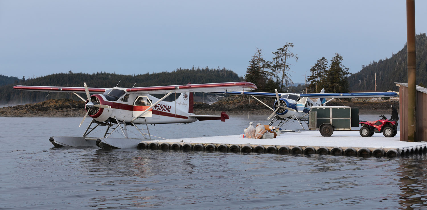 de Havilland Beaver airplanes busy with freight at Thorne Bay Alaska floatplane dock