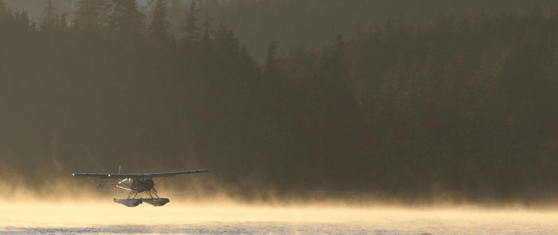 de Havilland Beaver floatplane landing in the mist Southeast Alaska