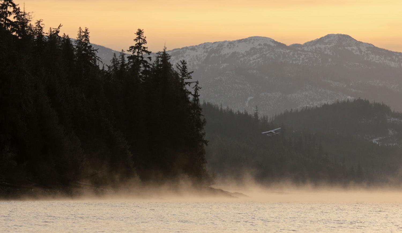 De Havilland Beaver floatplane departing Thorne Bay Alaska on a misty morning