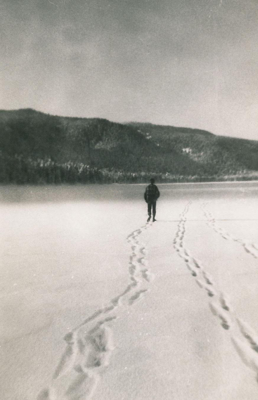 Walking on ice Hood Bay Admiralty Island Southeast Alaska 1950