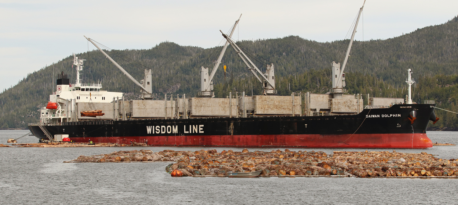 Cargo ship Daiwan Dolphin loading logs near Prince of Wales Island in Southeast Alaska