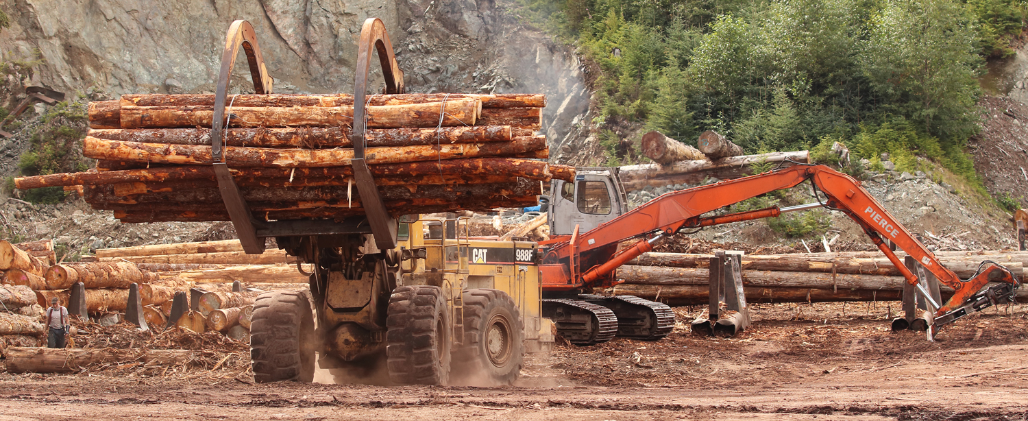 Log loader on Prince of Wales Island in Southeast Alaska