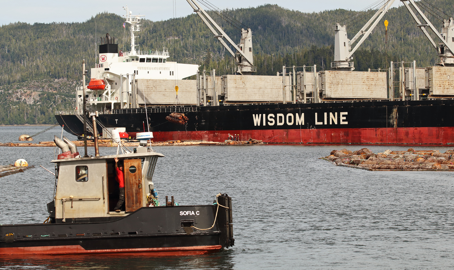 Log ship loading and tug Sophia C crew waving on Prince of Wales Island in Southeast Alaska