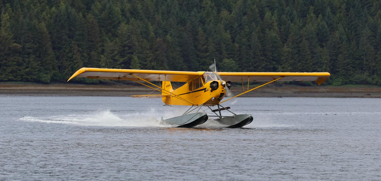 1946 Piper J3 Cub on landing in Alaska