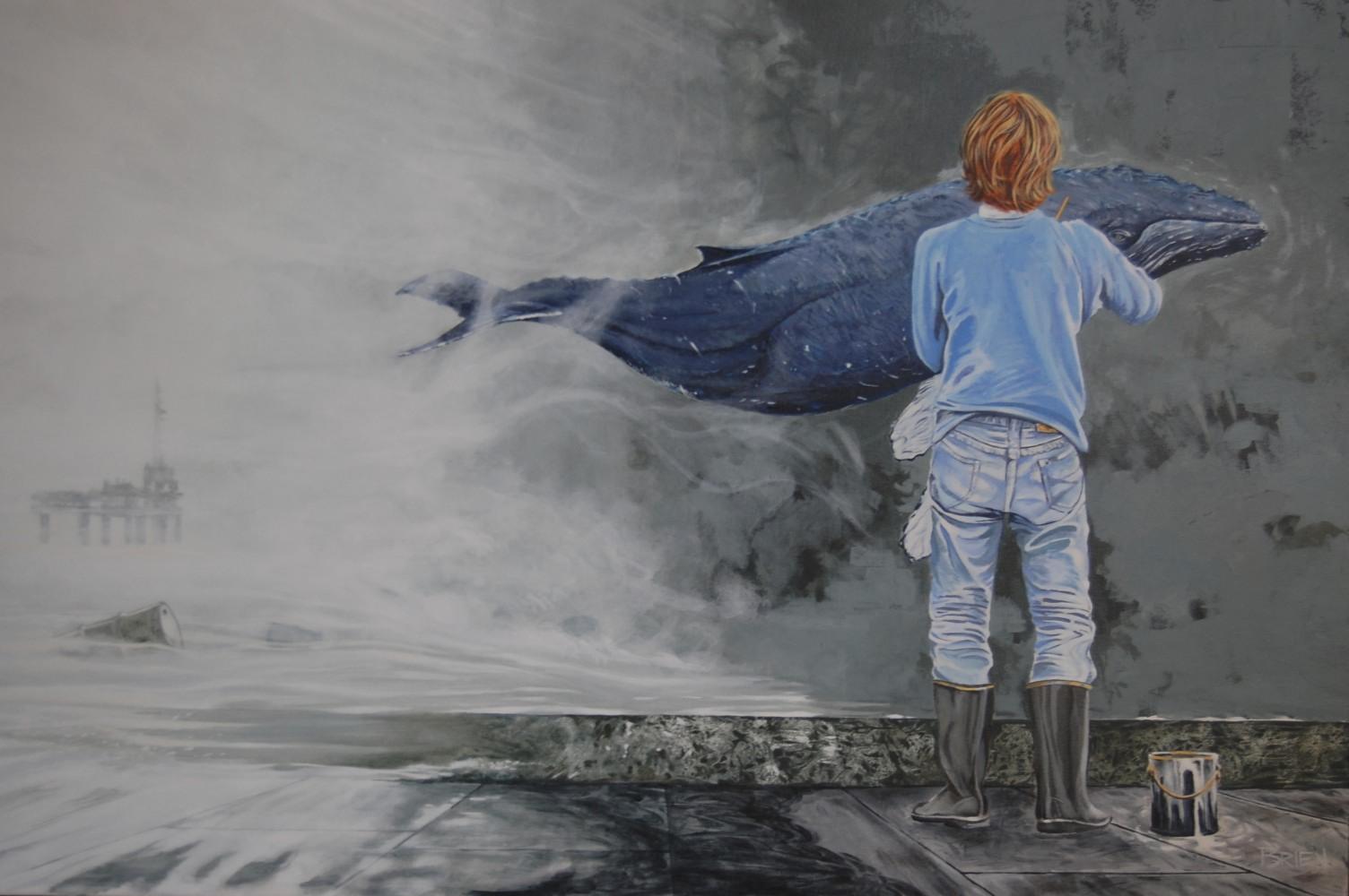 Sommes-nous en train de disparaître?   (2012 acrylique sur toile 24x36 po.) Un garçon peint une baleine sur un mur. La menace qui pèse sur ces deux mammifères avance dans la brume, avalant tout dans sa progression. Une plateforme de forage maritime et des barils à la dérive.