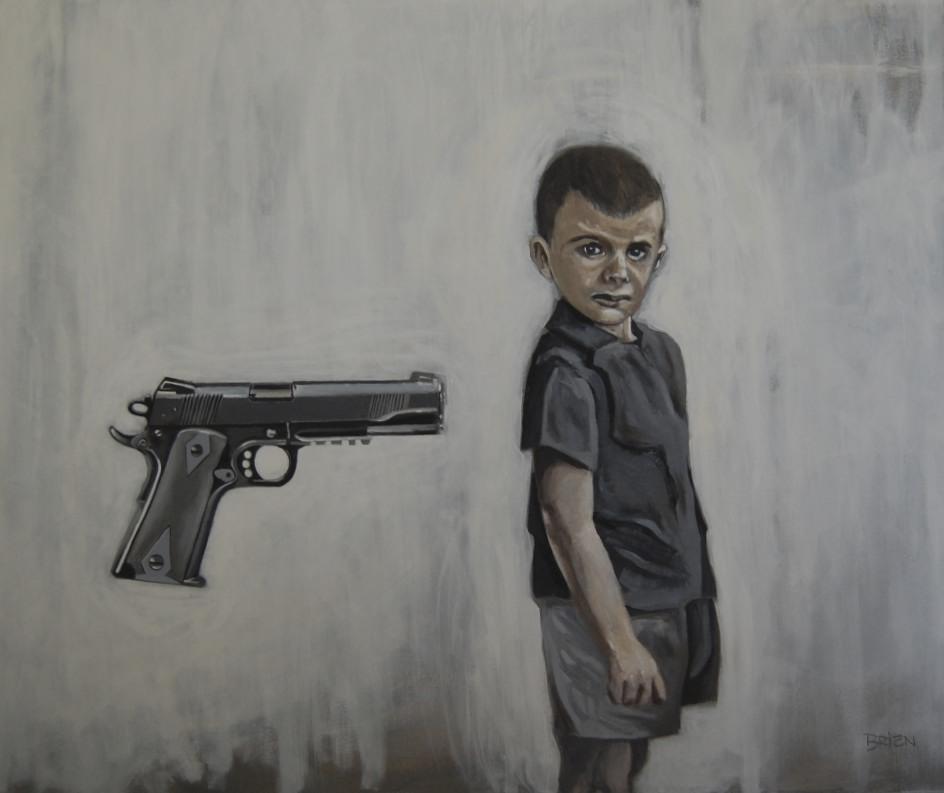 Such a gift!   (Ceci n'est pas un cadeau d'anniversaire)(2013 acrylique sur toile 30x36 po.) Une dénonciation des armes à feu véritables données en cadeau aux enfants, ici ou ailleurs dans le monde.