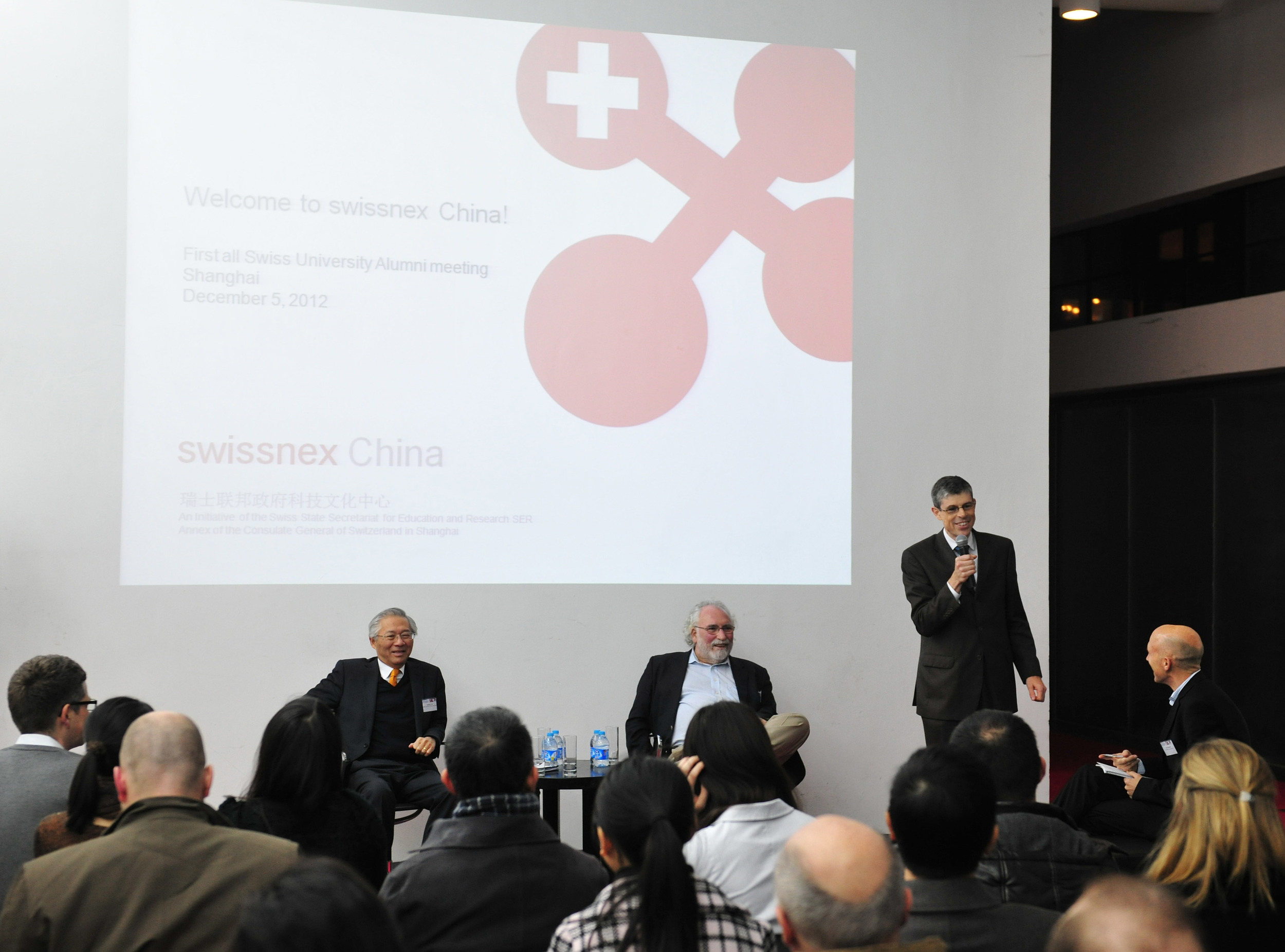 L-R, George S. Yip,  Co-Director (CEIBS Centre on China Innovation), Prof. Jean-Pierre Lehmann (Professor IMD Lausanne), Heinrich Schellenberg, (Consul General of Switzerland)