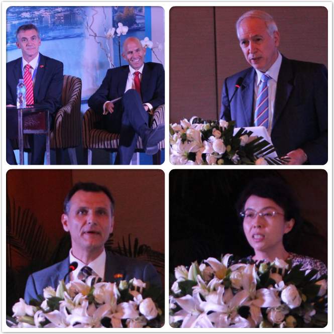 Left top (middle): Mr. Pascal Marmier, Executive Director swissnex China; right top: Mr.Jacques de Watteville, Ambassador of Switzerland; left bottom: Mr.Charles Beer,President of the Geneva State Council; right bottom: Ms. Hong Cheng  ,  Vice mayor of Beijing