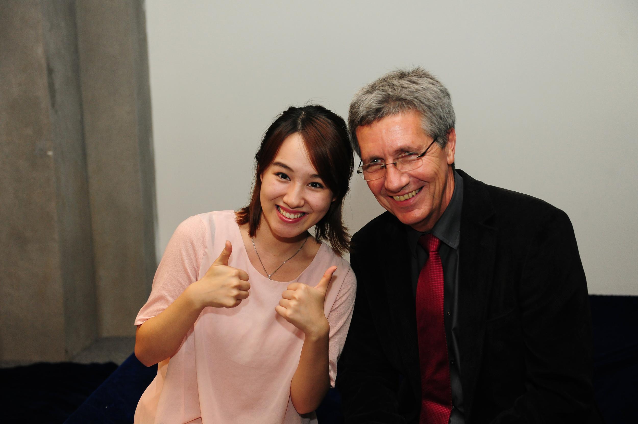 Mr. Thomas Grunwald with the actress Ms. Yujiao Gong.