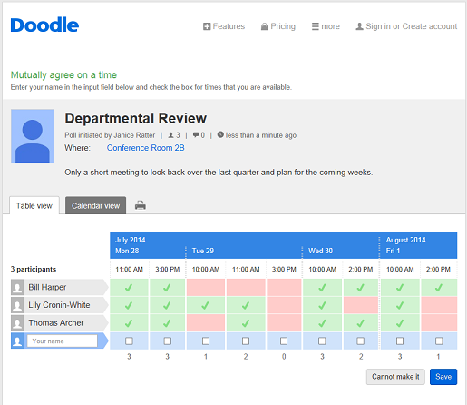 (a screenshot of the interface from  doodle.com
