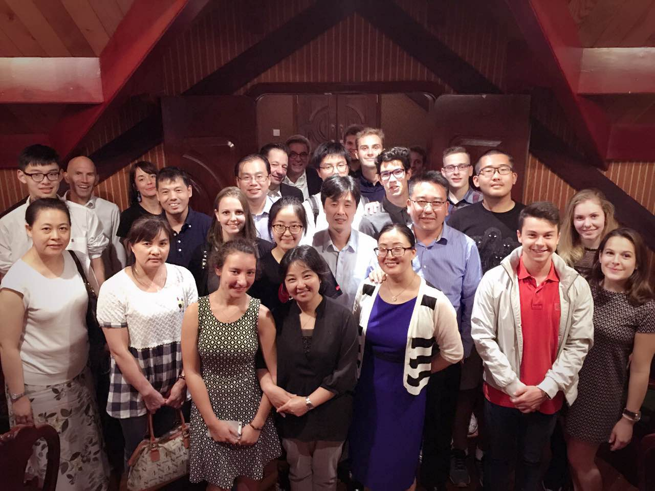 """Mr. Feuz, Head of Post-compulsory Training Service in Neuchatel, came for four days to Shanghai. We had a """"thank you"""" dinner with all host families and partners."""