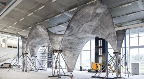 *Full-scale construction prototype of the NEST HiLo shell roof, photo by Michael Lyrenmann