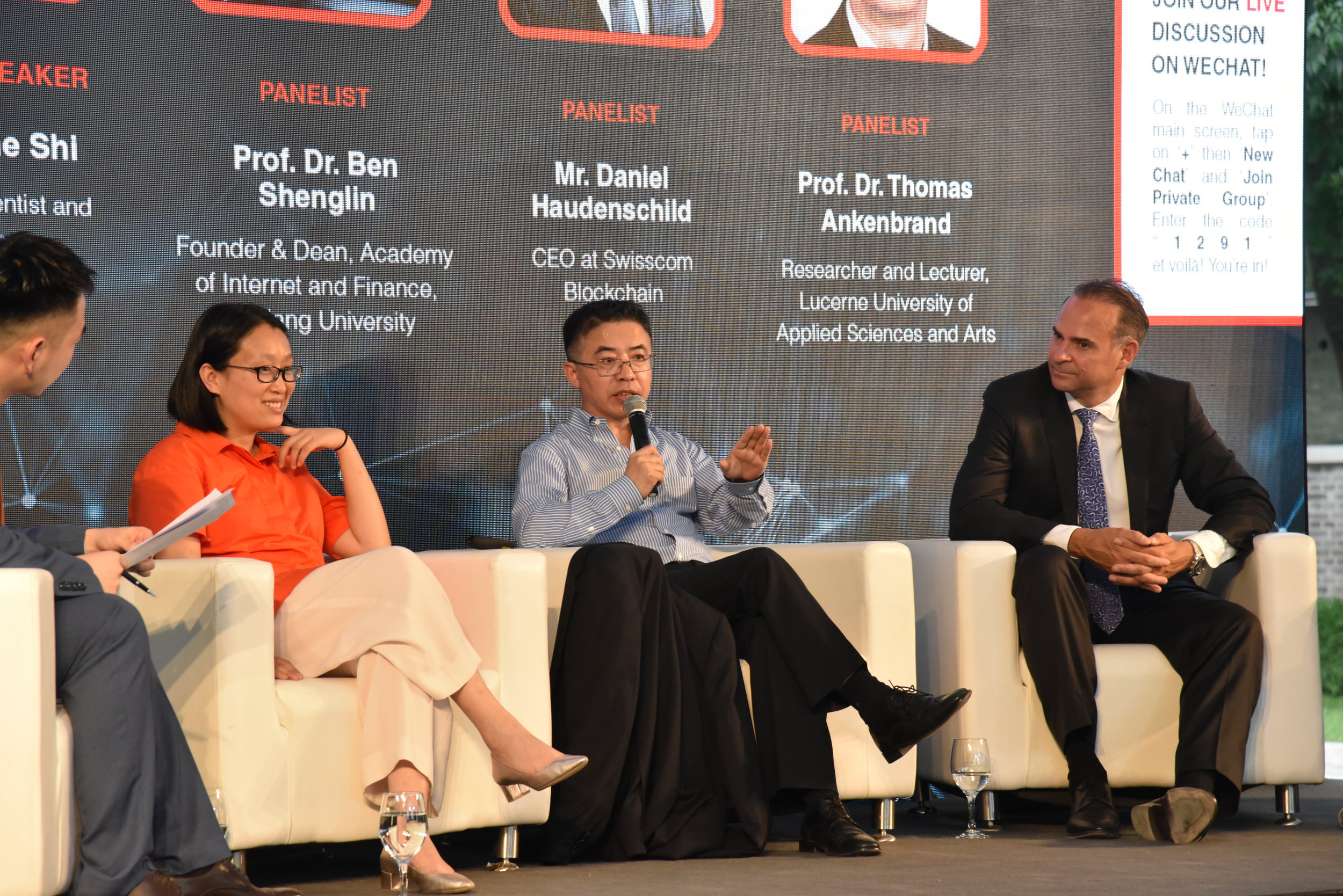 The panelists discussed topics revolving the application of blockchain technology in Switzerland and in China.