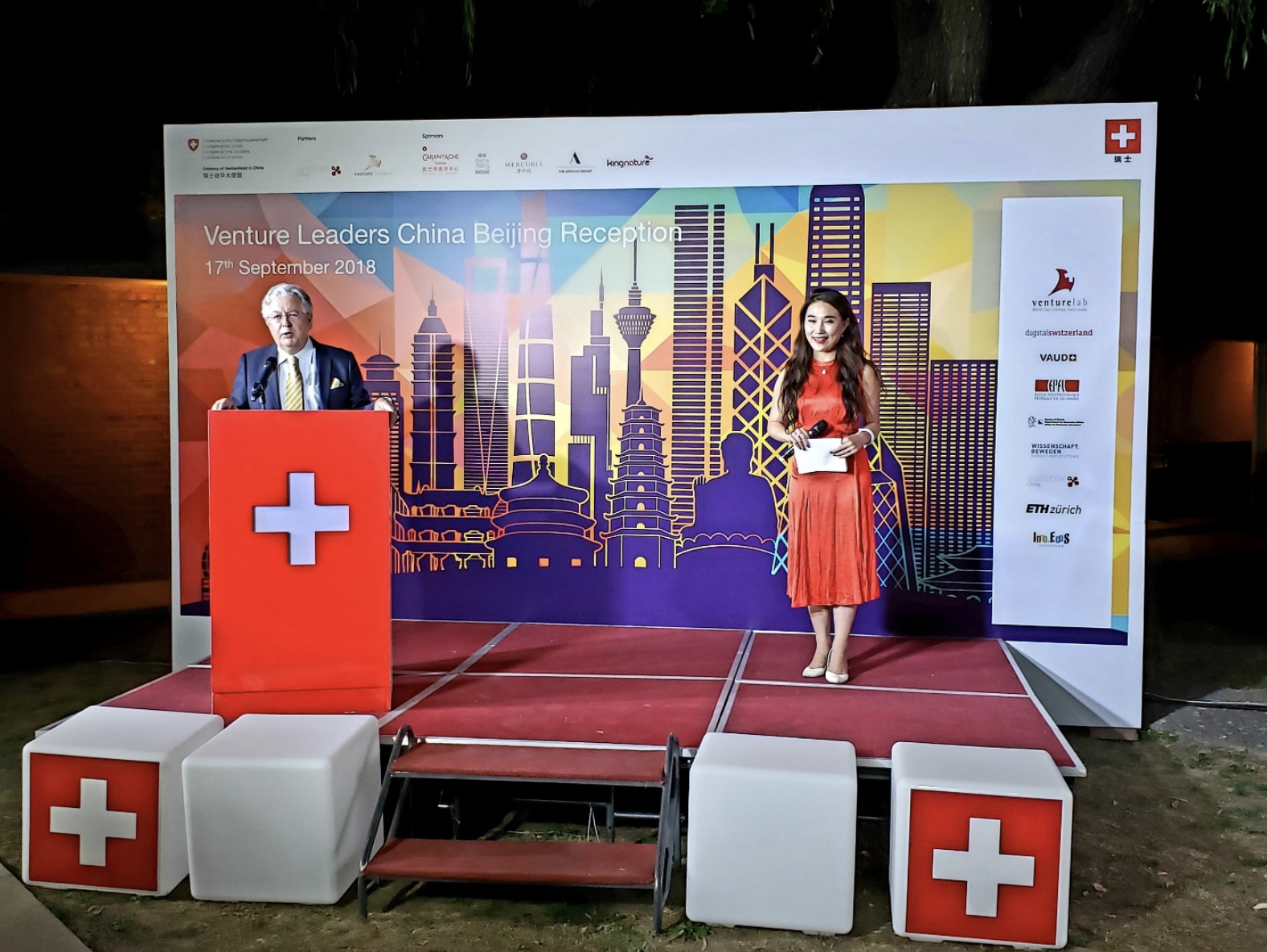 His Excellency Swiss Ambassador Jean-Jacques de Dardel's opening words during the pitch at the Swiss Embassy in Beijing