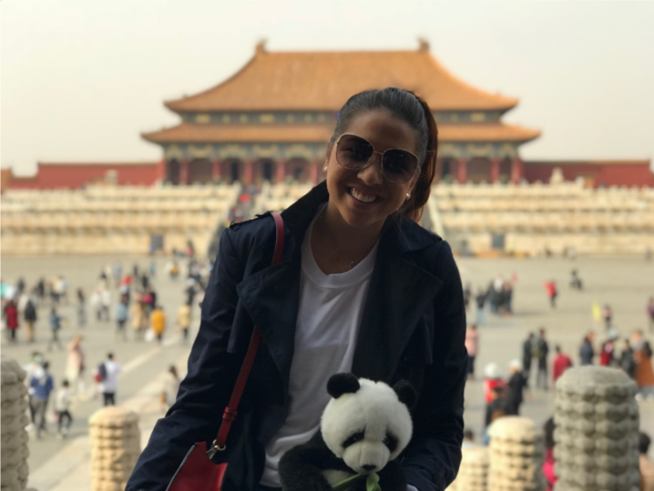 Nathalie Loeffel is visiting the Forbidden Palace in Beijing during her internship.