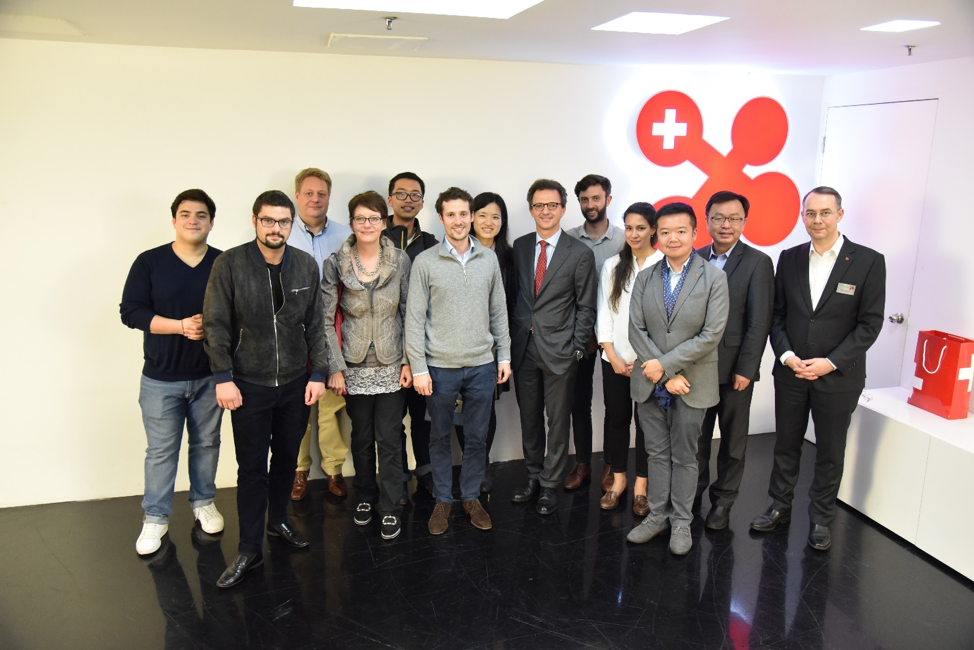 Genevans and University of Geneva Alumni with Prof. Jacques de Werra and Dr. Felix Moesner, Science Consul and CEO at swissnex China (Right).